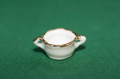 Zuckerdose weiß, mit Goldrand - ohne Deckel, Porzellan