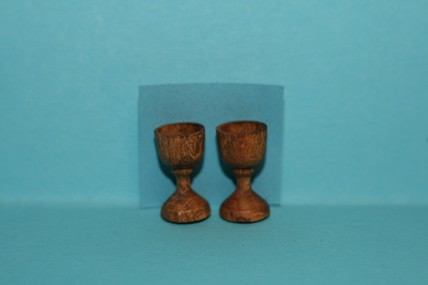 Römergläser, Holz - 2 Stück, 1:12