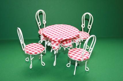 Gartenmöbel-Set, 1 Tisch + 4 Stühle, Metall
