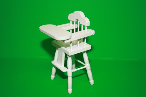Miniatur Kinder-Hochstuh weiß, 1:12
