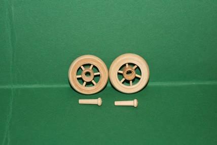 Speichen-Holzrad rund, mit Zapfen, roh - 2 Stück, 1:12