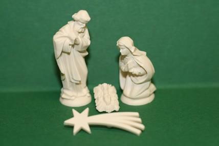 Heilige Familie, Kunststoff, elfenbeinfarben, 4-teilig