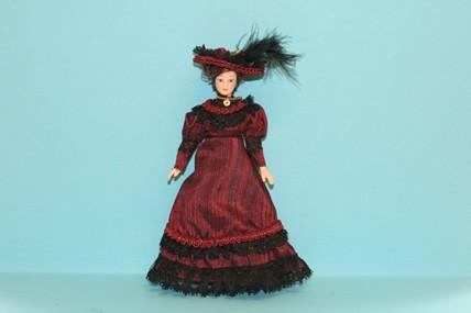 Porzellan-Puppe, Kleid bordeaux, 1:12