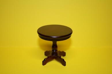 Tisch rund, mit Säulenfuß, Mahagoni