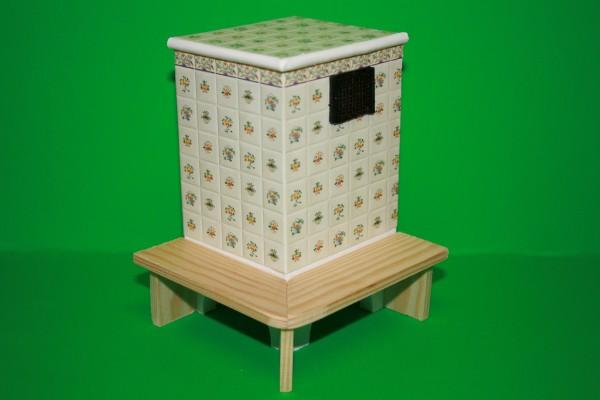 Kachelofen mit Sitzbank, Blumen-Kachelmuster, Kunststoff