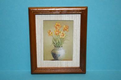 """Bild """"Blumen in Vase"""", mittelbrauner Holzrahmen"""