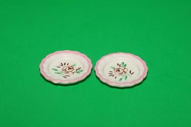 Teller, weiß/rosa - 2 Stück