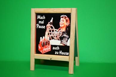 """Reklame Reiter Coca-Cola """"Mach mal Pause"""", Holz"""