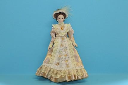 Porzellan-Puppe, Kleid goldfarben, 1:12