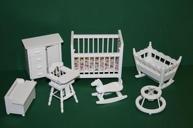 Kinderzimmer weiß - 7-teilig, 1:12