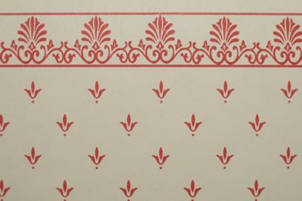 """Tapete """"Lilien"""", beige/rot, mit Bortenabschluss"""