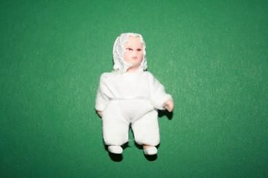 Baby, Strampler weiß, Porzellan, beweglich