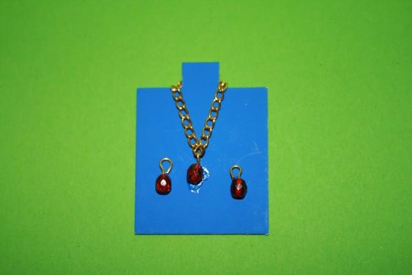 Halskette und Ohrringe goldfarben/rot