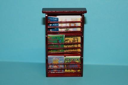 Regal mit Büchern/Zeitschriften, Mahagoni, 1:12