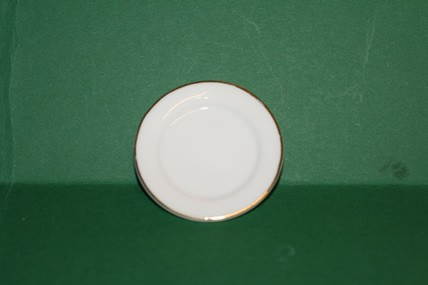Runde Porzellan-Platte weiß/Goldrand