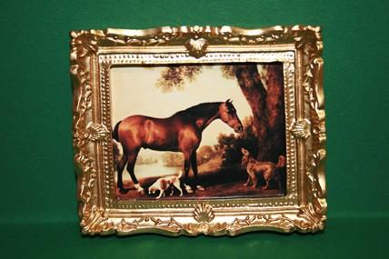"""""""Pferd und Hunde"""", Goldrahmen"""