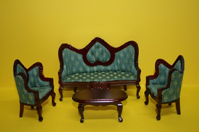 Couch-Set, Mahagoni, 4-tlg., Bezug grün, 1:12