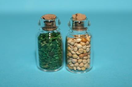Gewürzgläser mit Inhalt / grün + beige, 1:12