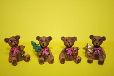 Weihnachtsbären, Kunstharz - 4 Stück
