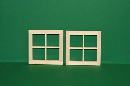 Sprossenfenster - 2 Stück, Holz roh, jetzt mit Innenrahmen, 1:12