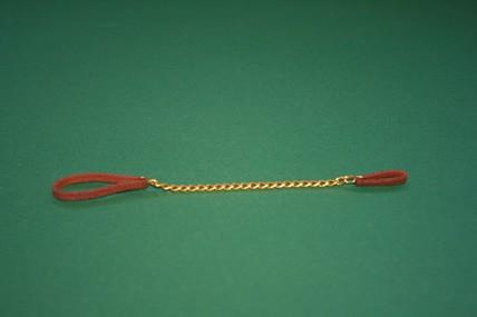 Hundehalsband braun, mit goldfarbener Kette
