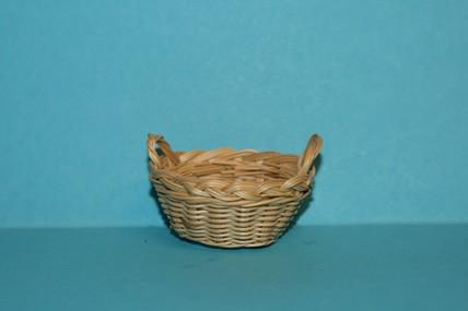 Wäschekorb oval, mit Griffen, hell, 1:12