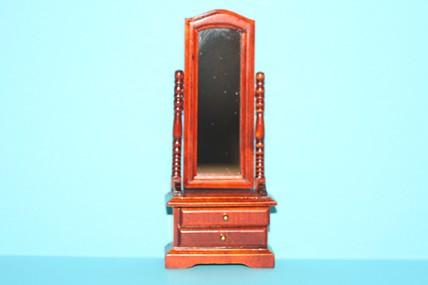 Standspiegel drehbar, Mahagoni, 2 Schubladen, 1:12