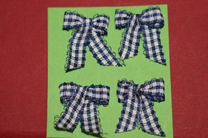 Schleifchen weiß-blau kariert - 4 Stück