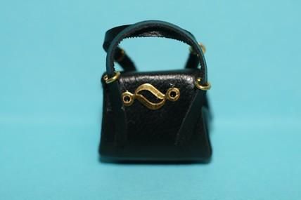 Damenhandtasche, Leder schwarz, 1:12