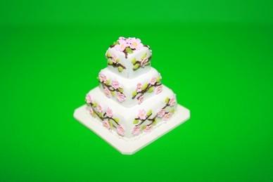 Hochzeitstorte weiß/rosa