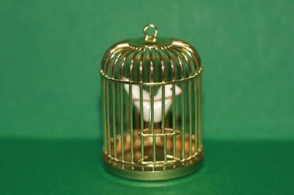 Vogelkäfig goldfarben, Metall, 1:12