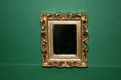 Spiegel eckig, Rahmen gold, Resin