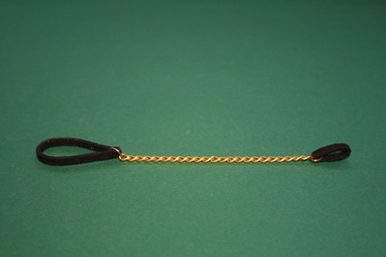 Hundehalsband schwarz, mit goldfarbener Kette