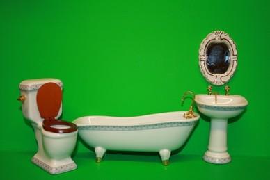 Badezimmer, Porzellan, weiß/taubenblau - 4 tlg., 1:12