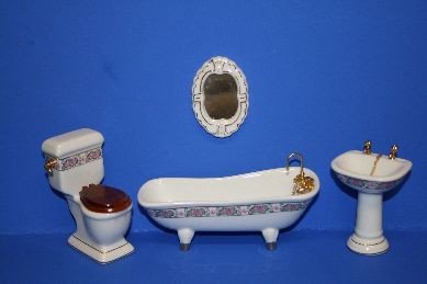 Badezimmer, weiß/rosa, Porzellan - 4-teilig, 1:12