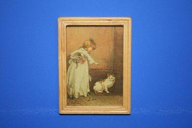"""Bild """"Mädchen m. Katze"""", Holzrahmen hell"""