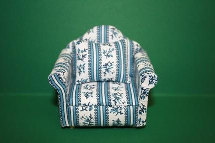 Sessel natur/blau geblümt, mit 1 Kissen