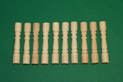 Verandapfosten - 10 Stück, Holz roh, 1:12
