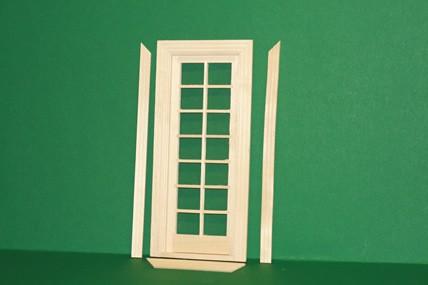 Terrassen-Türe mit Innenrahmen, Holz roh, 1:12