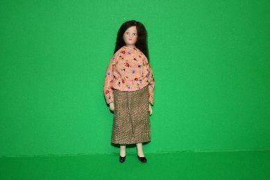"Porzellan-Biegepuppe ""Frau"", dunkle Haare, geblümte Bluse"