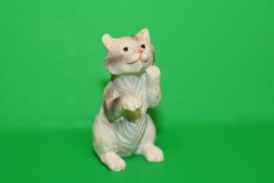 Katze - Pfoten hoch, Keramik, weiß/hellgrau
