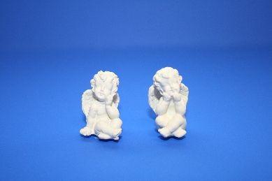 Engel sitzend, Set 2, Polyresin - 2 Stück