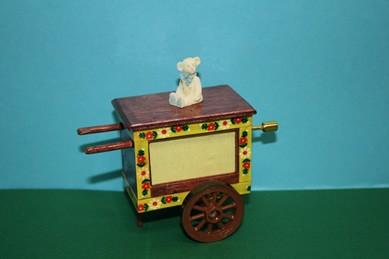 Drehorgel braun/gelb, mit weißem Bär, Melodie: La Paloma