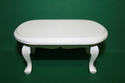 Couchtisch weiß, oval, 1:12