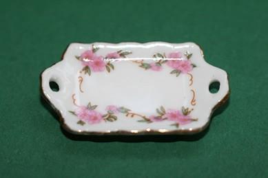 Tablett weiß/rosa Blumen m. Goldrand, Porzellan, 1:12