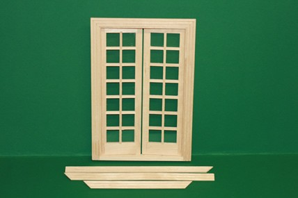 Doppel-Flügeltüre mit Innenrahmen, Holz roh, 1:12
