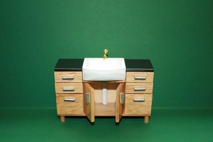 Badezimmer-Schrank m. Waschbecken, Pinie lackiert