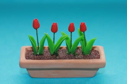 Pflanztrog mit Tulpen, Terracotta