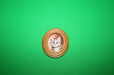 Katzenportrait im ovalen Goldrahmen