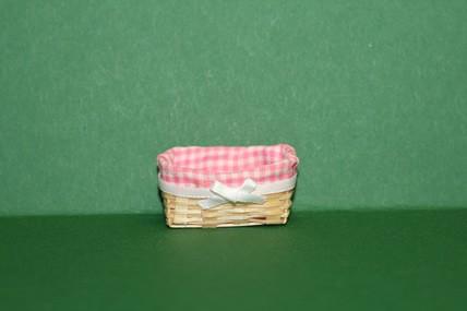 Korb mit Karostoff rosa/weiß